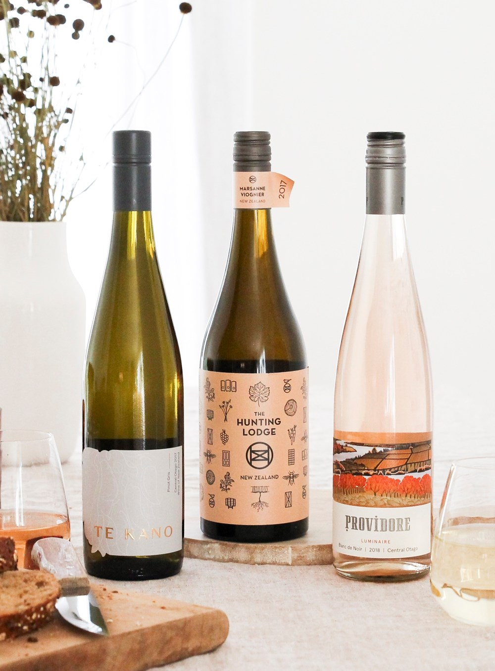 The Te Kano Pinot Gris, The Hunting Lodge Marsanne Viogner and Providore Luminaire Blanc de Noir